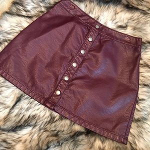 Maroon Leather Skirt